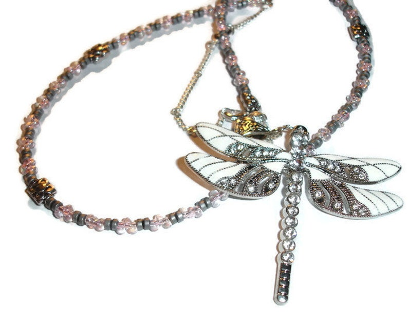 Dragonfly Necklace Beautiful White and silvertone Dragonfly Beaded Necklace Long Dragonfly Statement Necklace Pink and Silver 18 to 20 inch
