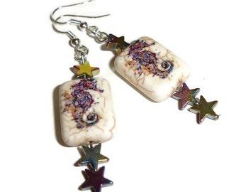 Seahorse dangle earrings nautical earrings seahorse dangles star dangles rainbow star earrings purple sea horse earrings