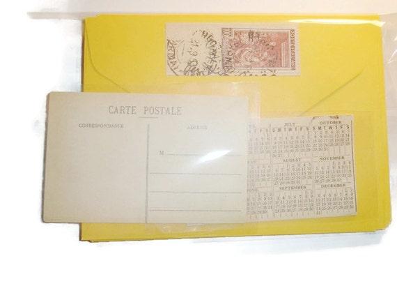 12 vintage look yellow envelopes