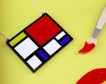 Mondrian acrylique Laser Cut collier Art Pop Art déclaration collier cadeau pour son Laser des années 1950 gravée plexiglas acrylique