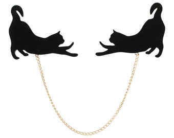 Acrylic Stretching Cat Silhouette Collar Pins