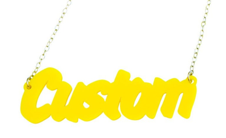 Customised Word Name Necklace Art Attack Font , Acrylic necklace, perspex,  Laser cut name necklace, word necklace, Single Line Necklace,