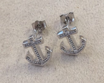 SALE ITEM: Sterling Silver Rhodium-Plated Polished CZ Anchor Post Earrings  **Free Shipping