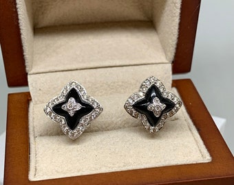 c84aece2ff 18K White Gold .50ct Diamond   Onyx Leverback Earrings Estate Jewelry
