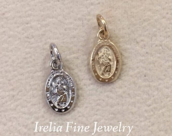 10K Solid Yellow White Gold Oval Baptism 8mm Size 3D Design Made Italia Pendant  Charm