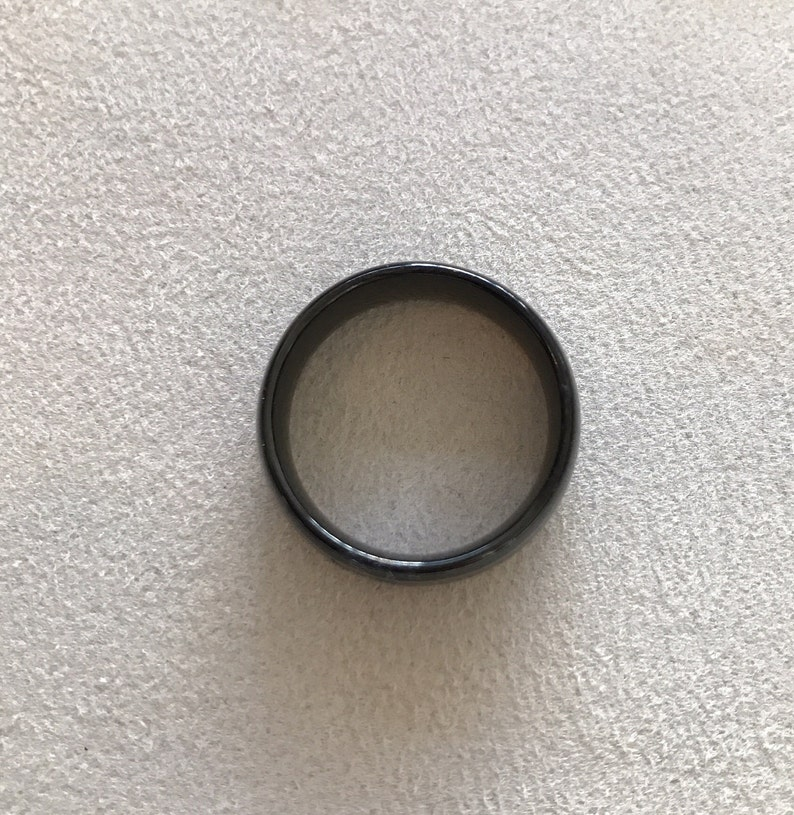 Tungsten 8.3mm Band with Black Immersion Plating Wedding Band Size 11