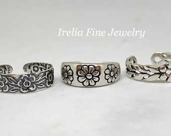 Sterling Silver Flower Toe Rings  **Choose One --Free Shipping--