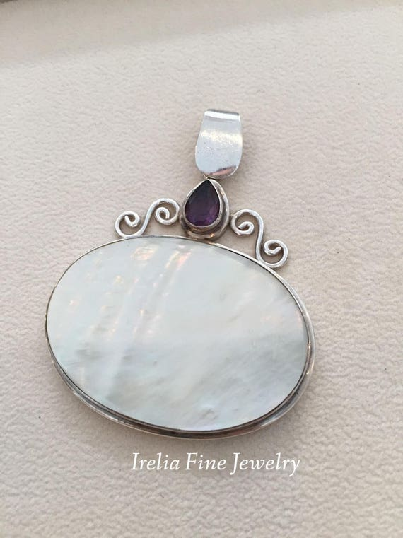 Large Vintage Sterling Silver & Mother of Pearl w… - image 1