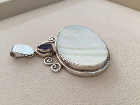 Large Vintage Sterling Silver & Mother of Pearl w… - image 5