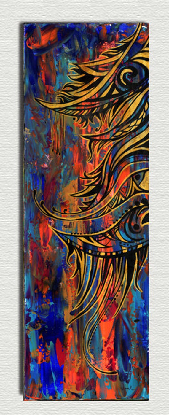 Wall Art Abstract Painting Orange Blue And Metallic Gold Etsy