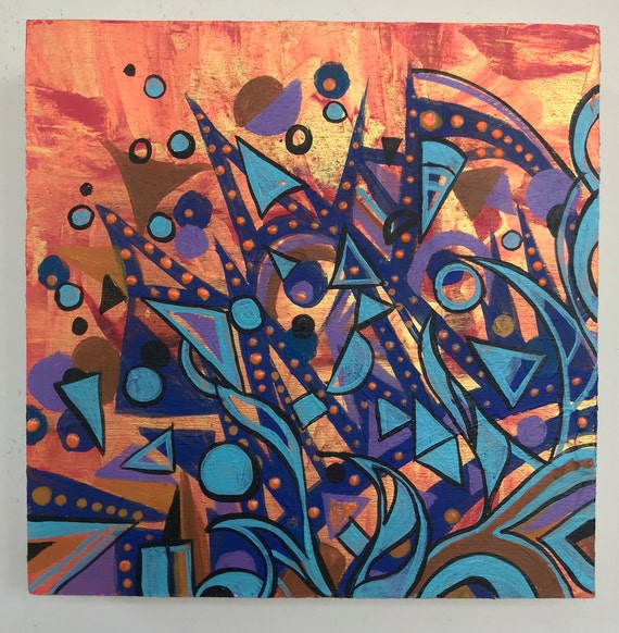Wall Art Abstract Painting Bright Colors Particle 6 X6 X 7 8 Original Acrylic Painting Modern Painting Colorful Designs