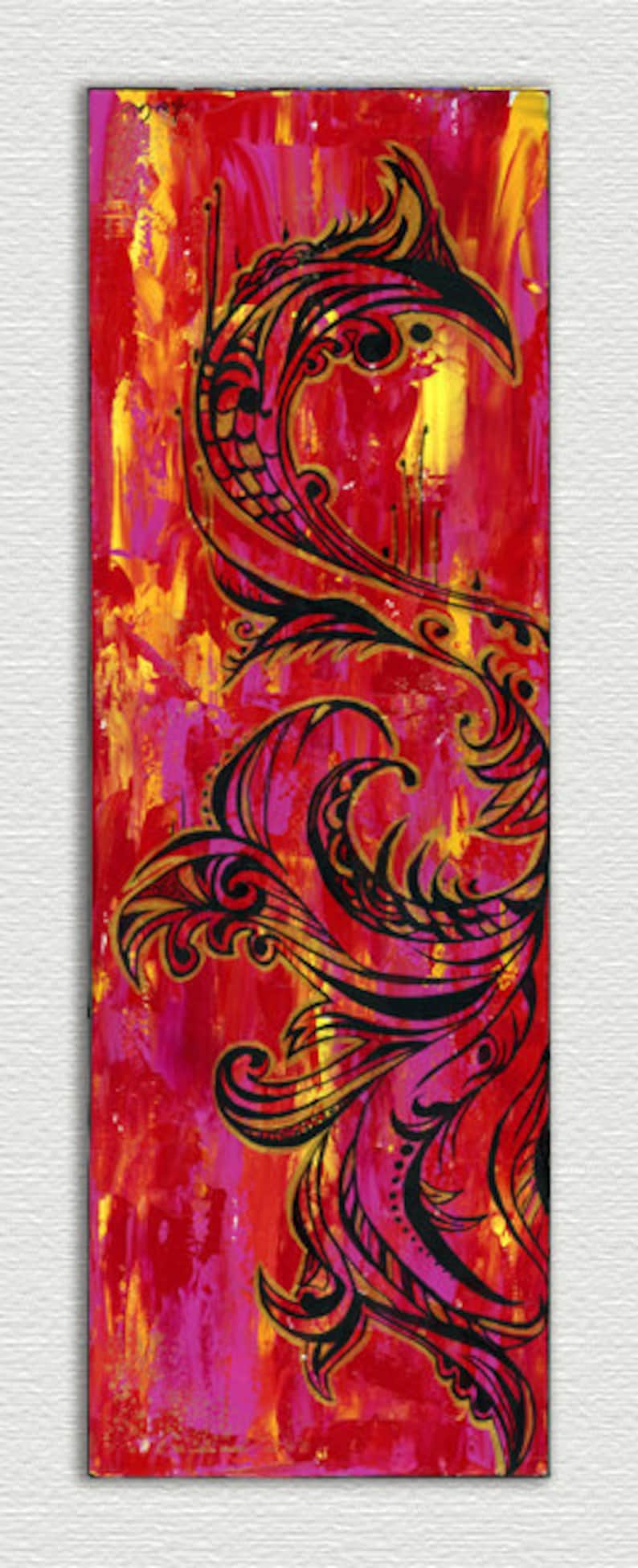Wall Art Abstract Painting Red And Metallic Gold 10 X30 Original Acrylic Painting Wall Decor