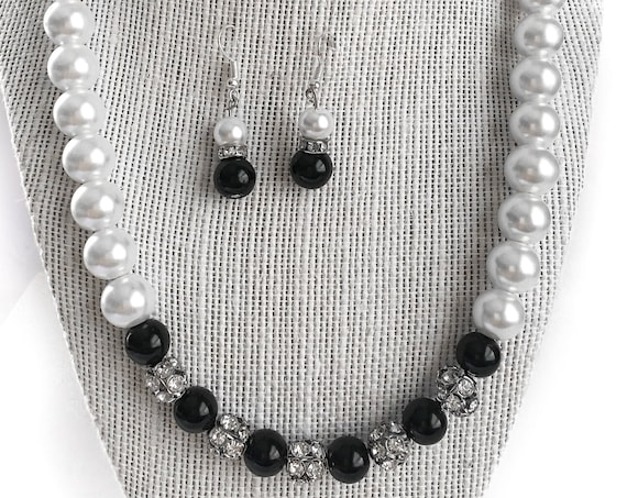 White  Pearl and Black Onyx Statement Necklace with Swarovski Crystal Spacer Beads, Bridesmaid Jewelry, Wedding Necklace