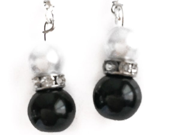 White Pearl and Black Onyx Earrings with Swarovski Crystal Spacer Beads, Bridesmaid Jewelry, Wedding Earrings