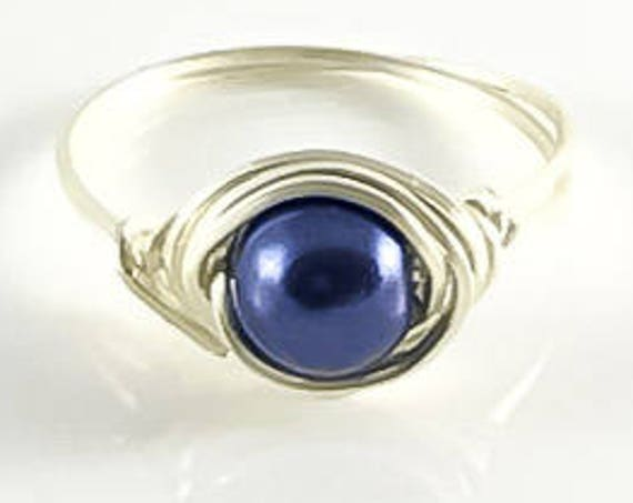 Midnight Blue Pearl Wrapped Ring-Sterling Silver