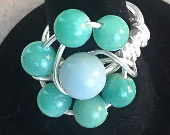 Lucky Daisy Green Aventurine Gemstone Wire Wrap Boho Style Ring