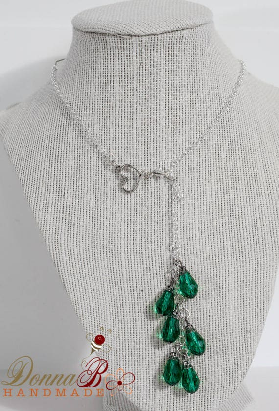 Heart lariat necklace, teardrop shaped, emerald colored glass gems, silver platted, affordable costume jewelry, unique