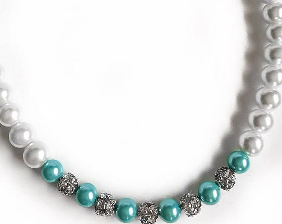 White and Robin's Egg Blue Pearl Statement Necklace with Swarovski Crystal Spacer Beads, Bridesmaid Jewelry, Wedding Necklace