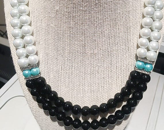 White Pearl, Black Onyx Multi Strand Necklace with Robin's Egg Blue Pearls, Bridesmaid Jewelry, Wedding Necklace