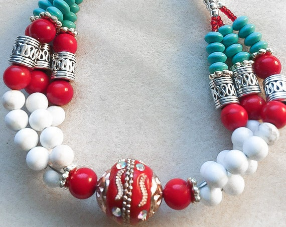 Southwestern Inspired Red Coral, Turquoise and White Howlite Boho Multi-Strand  Bead Bracelet