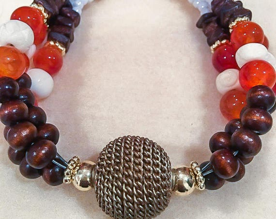 African Inspired, Fire Agate, Ivory Carved Shell and Wooden Bead Multi-Strand Bracelet
