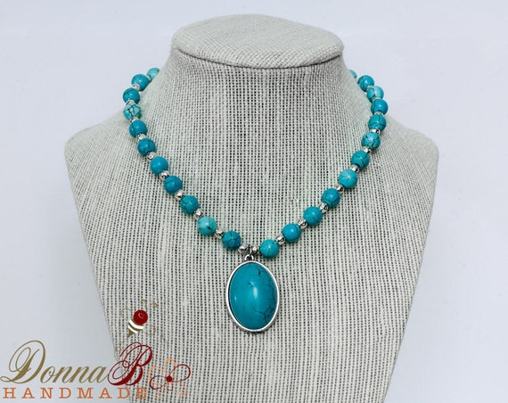 Turquoise Howlite necklace, chunky, turquoise necklace, turquoise necklace silver