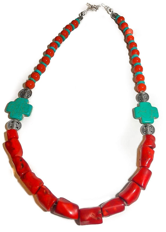 Red Coral Bamboo and Turquoise Statement Necklace