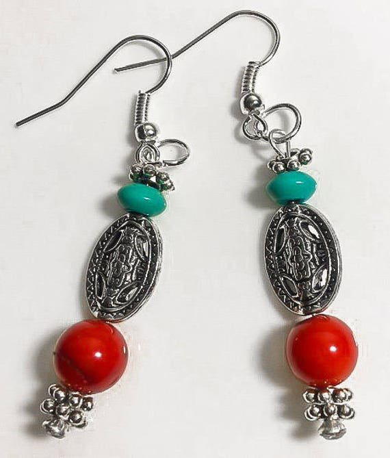 Red Coral and Turquoise Statement Dangle Earrings