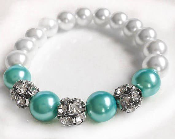 White and Robin's Egg Blue Pearl Statement Bracelet with Swarovski Crystal Spacer Beads, Bridesmaid Jewelry, Wedding Bracelet