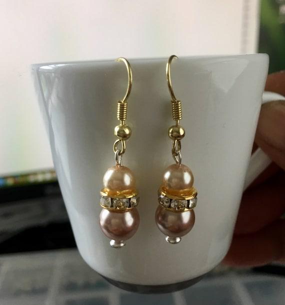 Amber and Dark Mocha  Swarovski Pearl Beaded Earrings