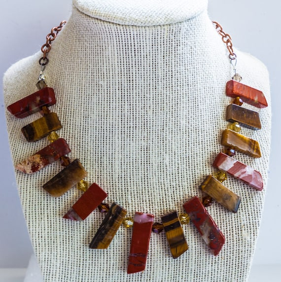 Red Jasper & Tiger Eye Stick chunky necklace with Amber Glass Beads