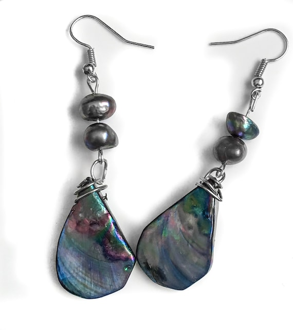 Blue and Green Teardrop Shell Bead Earrings