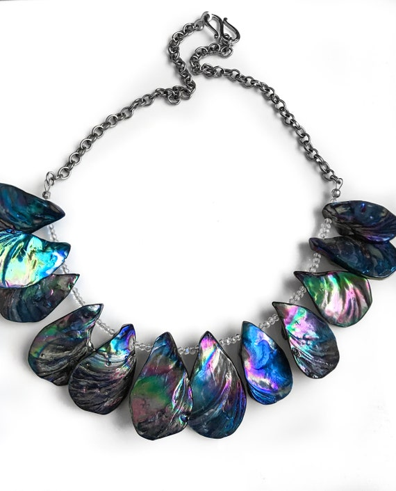 Blue and Green Teardrop Shell Bead Statement Necklace