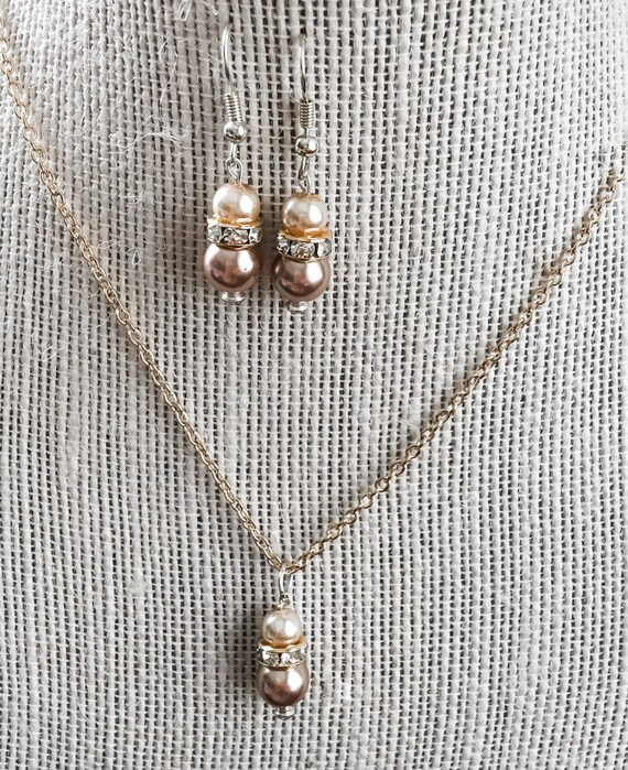 FALLing for Jewelry Fall Jewelry Collection Amber and Dark Mocha Swarovski Pearl Beaded Earrings and Gold Chain Necklace Set
