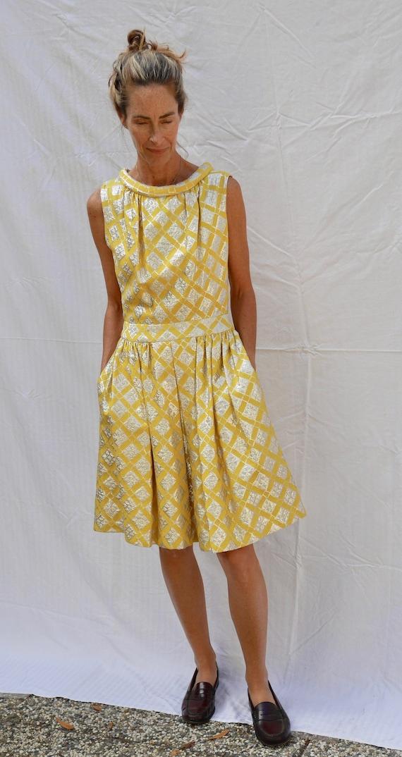 unique vintage yellow 60's dress