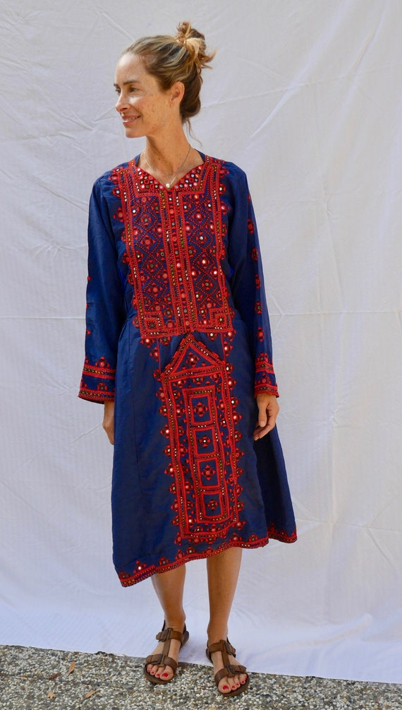 beautiful, navy, ethnic caftan dress