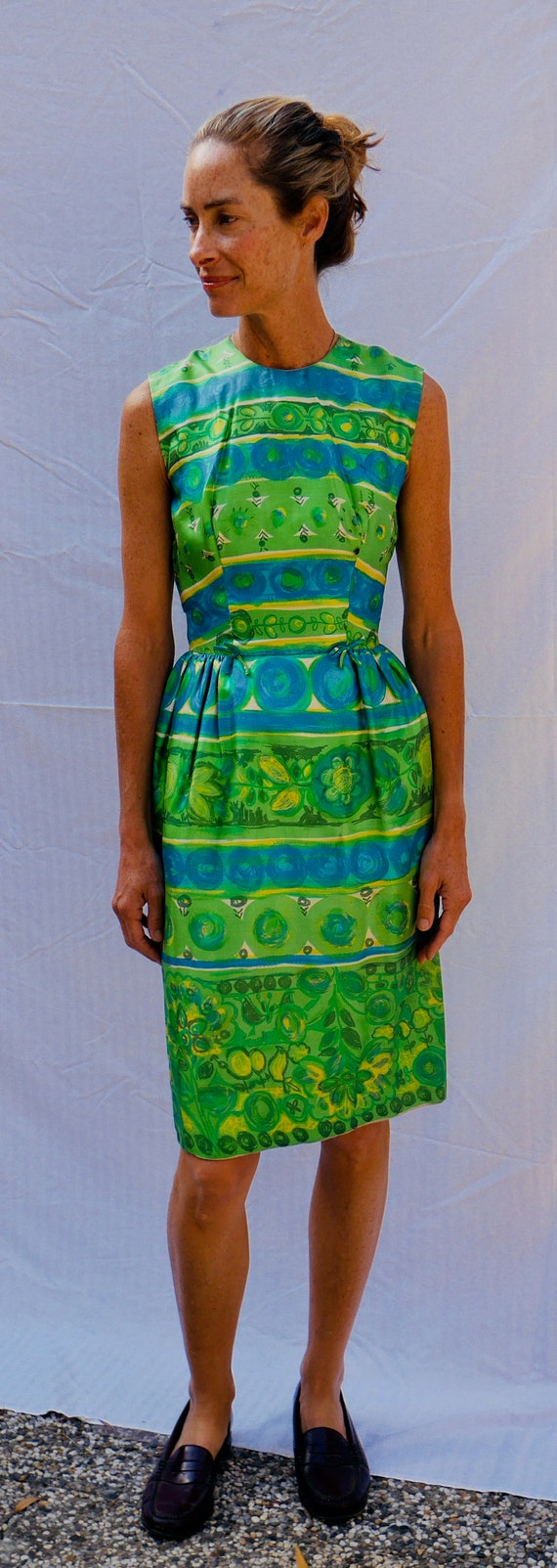 vintage, fitted, shift dress 1960's, green and blu