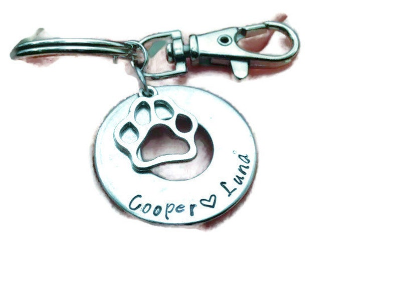 Dog Lovers Key Chain! Personalize your pet names! Pet lover Keychain,  Personalize, Handmade, Memorial, fur baby, paw print charm, love dogs