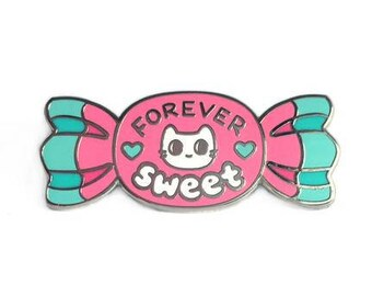 Forever Sweet Kitten Candy Enamel Pin - Silver Metal Lapel Badge - Cute Illustration by Sparkle Collective