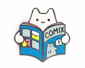 Comic Book Baby Cat Enamel Pin - Silver Metal Lapel Badge - Cute Comix Illustration by Sparkle Collective