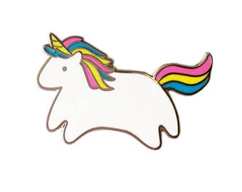 Baby Unicorn Enamel Pin - Silver Metal Lapel Badge - Cute Rainbow Illustration by Sparkle Collective