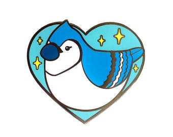 Baby Blue Jay Enamel Pin - Kawaii Bird Metal Lapel Badge - Cute Illustration by Sparkle Collective