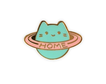 Baby Cat Home Planet Enamel Pin - Mint/Pink Gold Metal Lapel Badge - Cute Pastel Cosmic Illustration by Sparkle Collective