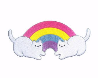 Baby Cat Rainbow Pals Iron-on Patch - 6.5-inch Embroidered Illustration by Sparkle Collective