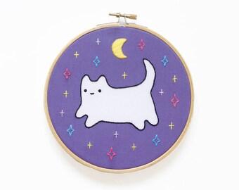 Cosmic Baby Cat - Hoop Art Kit - Limited Edition Kiriki Press Collaboration