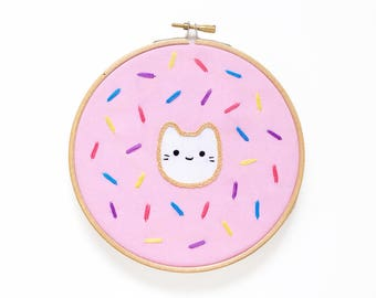 Donut Baby Cat - Hoop Art Kit - Limited Edition Kiriki Press Collaboration