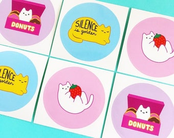 Pastel Baby Cat Glossy Paper Stickers (Pack of 6) by Sparkle Collective