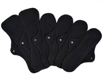 """Heavy Flow Cloth Pads Set - RegularWings - Reusable Menstrual Cotton Flannel Pads in 12"""" and 14""""   Choose from 9 Colors!"""