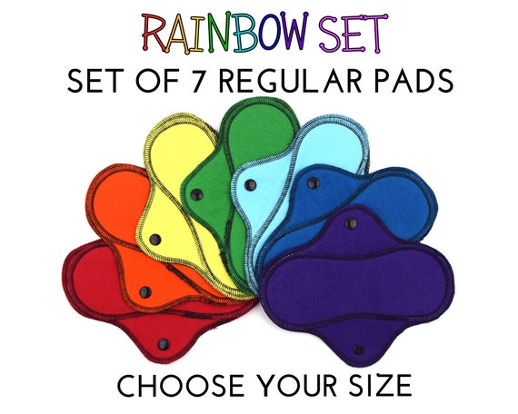 12 and 14|  RegularWings Reusable Cloth Pads Variety Set 4 Cotton Flannel Menstrual Pads for Regular to Heavy Flow in 8 10