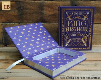 Hollow Book Safe - King Arthur and His Knights - Purple Leather Bound